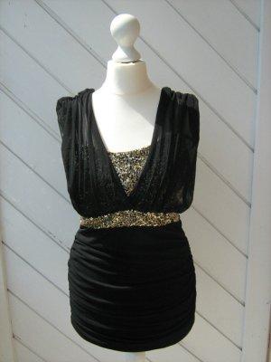 Off the shoulder jurk zwart-goud