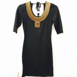 Partykleid mit Perlen Gold schwarz