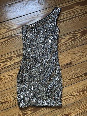 H&M Abito con paillettes nero-argento