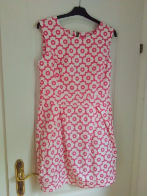 Robe courte blanc-rose polyester
