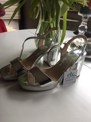 Zara Strapped High-Heeled Sandals silver-colored