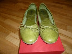 Foldable Ballet Flats green leather