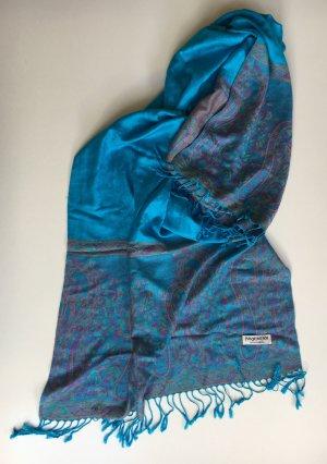 Châle au tricot bleu fluo