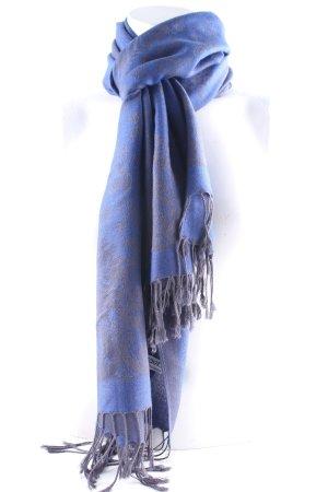 Pashmina Sjaal met franjes blauw-leigrijs bloemen patroon klassieke stijl