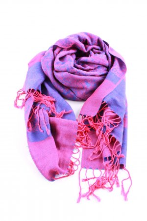 Pashmina Fringed Scarf pink-blue abstract pattern casual look