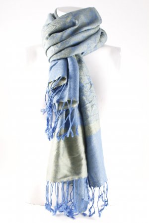 Pashmina Neckerchief cornflower blue-green grey casual look