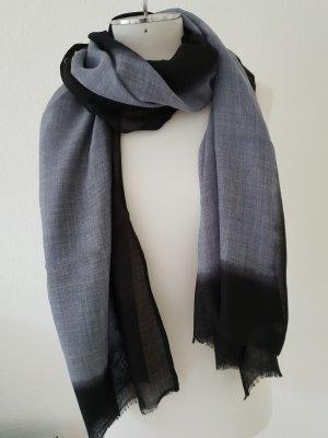 Pashmina azul oscuro-gris pizarra Lana