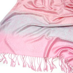 Pashmina Schal LOVELY DOTS Tuch Rosa Grau Weiß Paisley