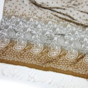 Pashmina Schal LOVELY DOTS Tuch Taupe Beige Paisley