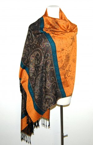 Pashmina Pashmina bermejo-gris pizarra tejido mezclado