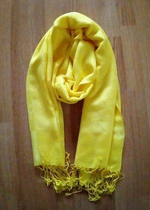 Pashmina Schal Tuch Stola gelb hellgelb XXL