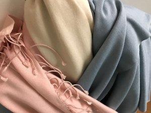 Pashmina Schals mit Seidenfransen, blau, weiß, rosa