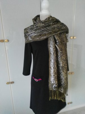 Pashmina black-gold-colored