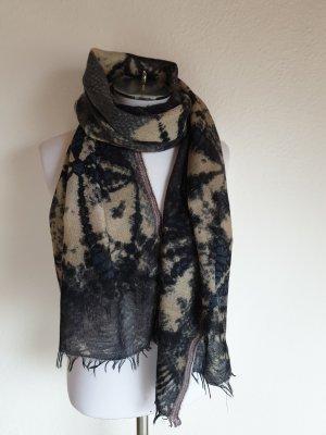 Sjaal donkerblauw-beige Wol