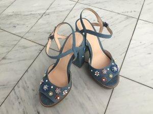 Passender Schuh zum Dirndl? High Heels Jeansoptik mit bunten Blumenapplikationen
