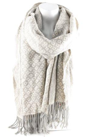 Passigatti Bufanda de flecos crema-gris claro estampado azteca look casual