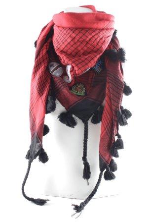 Passigatti Bufanda de flecos rojo oscuro-negro estampado a rayas look casual
