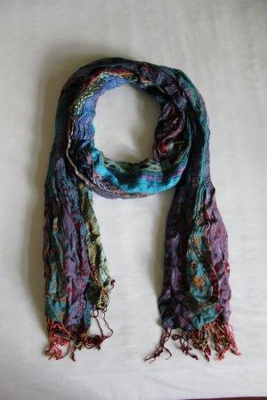 Passigatti-Schal mit Fransen, geraffter Optik und Muster-Mix
