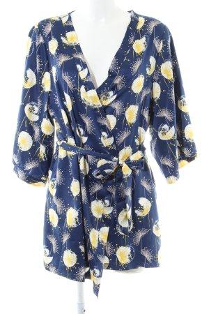 Passionata Kimono dunkelblau-dunkelgelb Blumenmuster Wickel-Look