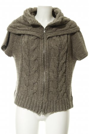 Passport Short Sleeve Knitted Jacket grey brown cable stitch casual look