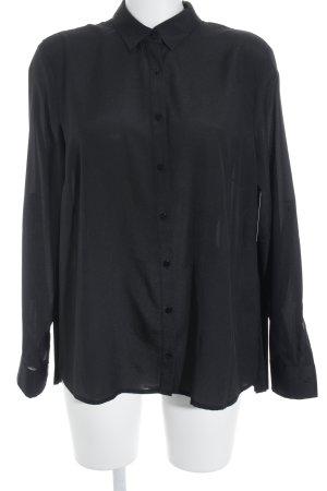 Passport Langarm-Bluse schwarz schlichter Stil