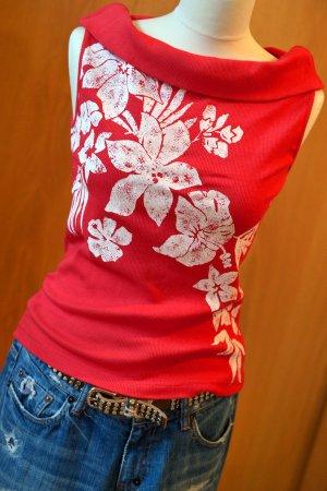 PASSPORT Rippshirt schulterfrei Carmenshirt Rot S/36 offshoulder Top Shirt Neu