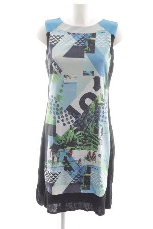 Passport schulterfreies Kleid abstrakter Druck extravaganter Stil