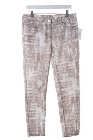 Passport Skinny Jeans beige-weiß Batikmuster extravaganter Stil