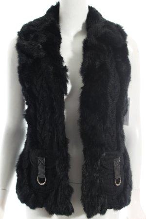 Passport Knitted Vest black Fur trimming