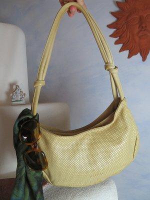 Pastell Gelb Tote Bag ASTORE BAGS VENEZIA Handbag Designertasche Echtleder Perforiert Handtasche