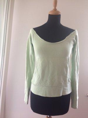 Pastell grün mint Pullover Sweat offshoulder Carmen Longsleeve Sommer Frühling