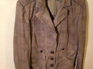 Pastell Jacket, karierter Blazer in braun, einzelne Akzente in blau/rose, Größe 36, Nichtraucherhaushalt