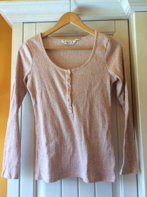 H&M L.O.G.G. Camisa acanalada color rosa dorado-rosa empolvado tejido mezclado