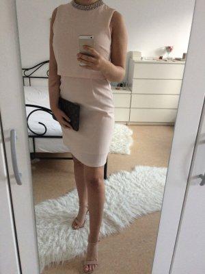 Pastell Rosa Abendkleid mit Glitzerkragen mit Glitzersteinen auch geeignet als Sommerkleid