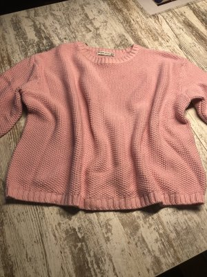 Bershka Coarse Knitted Sweater light pink-pink