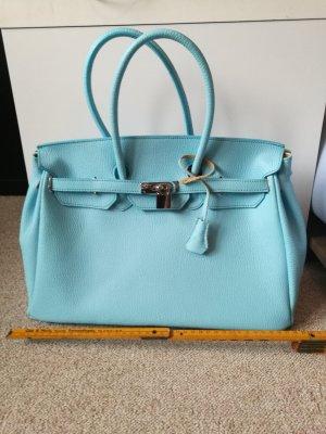 Pastellblaue Lederhandtasche im BirkinbagLook