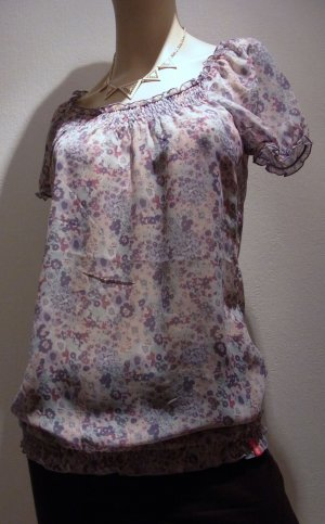 Pastellfarbene leichte Chiffon Carmenbluse mit Blumenmuster und Smog