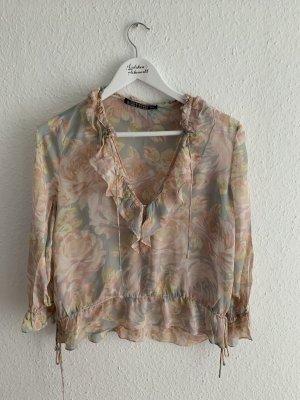 Zara Woman Ruche blouse veelkleurig
