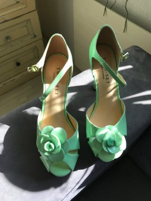 Twin set Peep Toe Pumps pale green leather