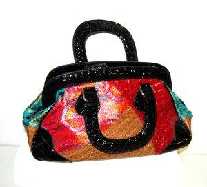 Bolso con correa multicolor Imitación de cuero