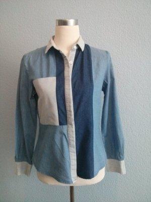 Patchwork Jeanshemd Denim Shirt Marant blau Bluse Denimshirt