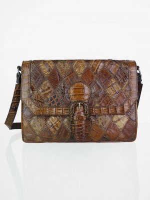 Shoulder Bag brown-beige leather
