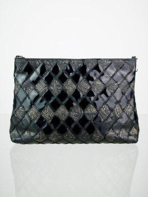Handbag black-gold-colored imitation leather