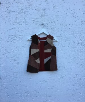 Vintage Leather Vest brown-carmine imitation leather