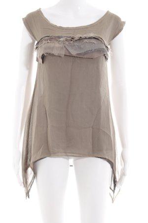 Patricia Pepe Top de seda marrón grisáceo estilo extravagante