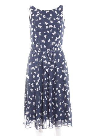 Patrizia Dini Abendkleid blau-weiß Allover-Druck Elegant