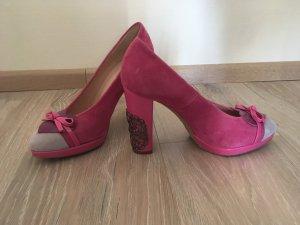 Patrizia Dini Heine Pumps High Heels Oktoberfest Leder pink rosa grau 37