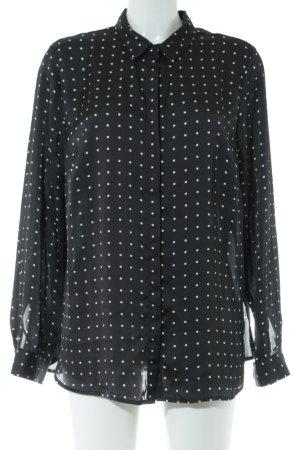 Patrizia Dini Langarm-Bluse schwarz-weiß Allover-Druck Business-Look