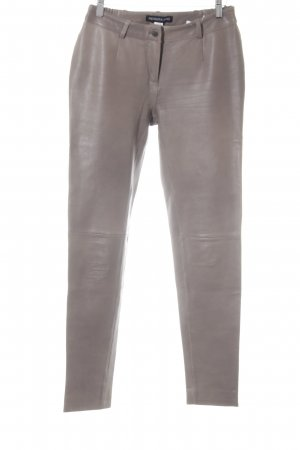 Patrizia Dini Leather Trousers grey brown casual look