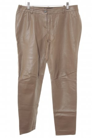 Patrizia Dini Leather Trousers light brown casual look